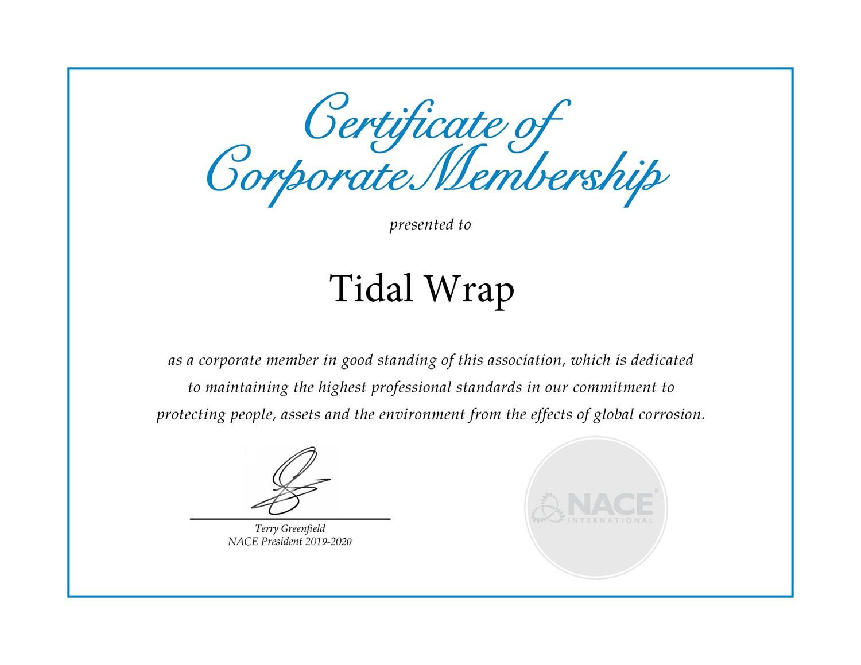 tidal wrap certification